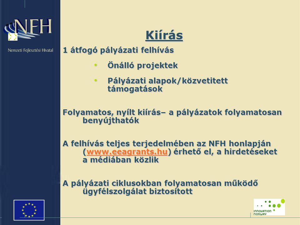Kiírás 1 átfogó pályázati felhívás Önálló projektek Önálló projektek Pályázati alapok/közvetitett támogatások Pályázati alapok/közvetitett támogatások Folyamatos, nyílt kiírás– a pályázatok folyamatosan benyújthatók A felhívás teljes terjedelmében az NFH honlapján (www.eeagrants.hu) érhető el, a hirdetéseket a médiában közlik www.eeagrants.hu A pályázati ciklusokban folyamatosan működő ügyfélszolgálat biztosított