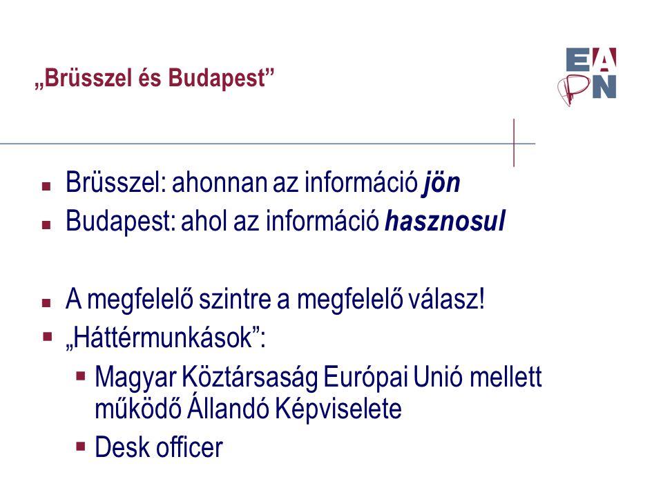 """""""Brüsszel és Budapest Brüsszel: ahonnan az információ jön Budapest: ahol az információ hasznosul A megfelelő szintre a megfelelő válasz."""