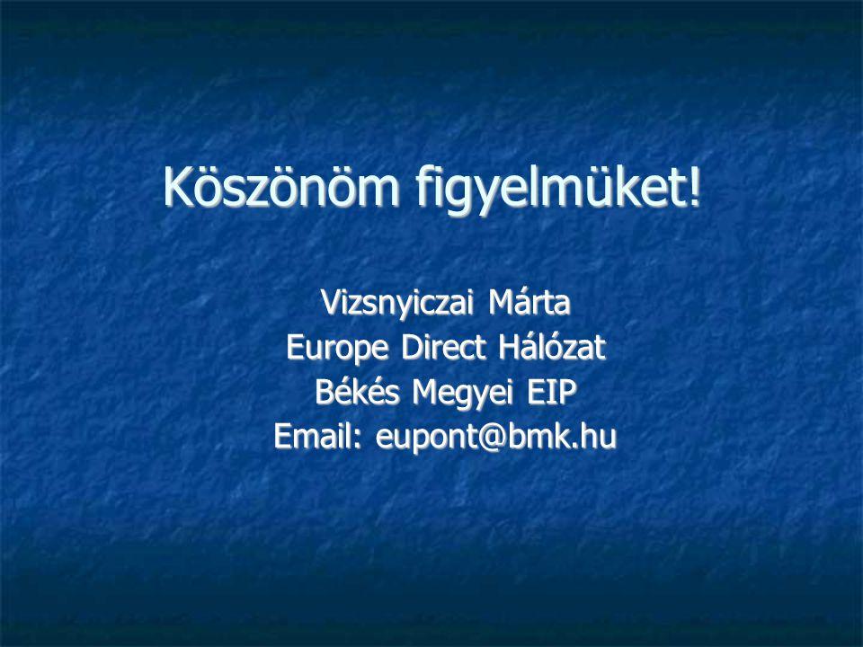 Köszönöm figyelmüket! Vizsnyiczai Márta Europe Direct Hálózat Békés Megyei EIP Email: eupont@bmk.hu