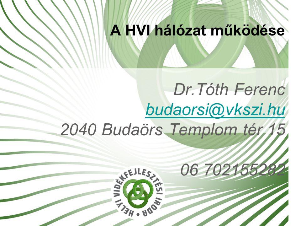 A HVI hálózat működése Dr.Tóth Ferenc budaorsi@vkszi.hu 2040 Budaörs Templom tér 15 06 702155282 budaorsi@vkszi.hu