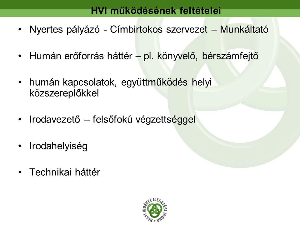 HVI működésének feltételei Nyertes pályázó - Címbirtokos szervezet – Munkáltató Humán erőforrás háttér – pl.