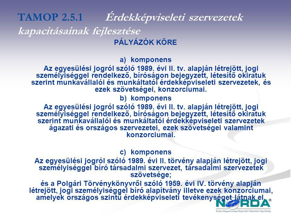 TAMOP 2.5.1Érdekképviseleti szervezetek kapacitásainak fejlesztése PÁLYÁZÓK KÖRE a) komponens Az egyesülési jogról szóló 1989.