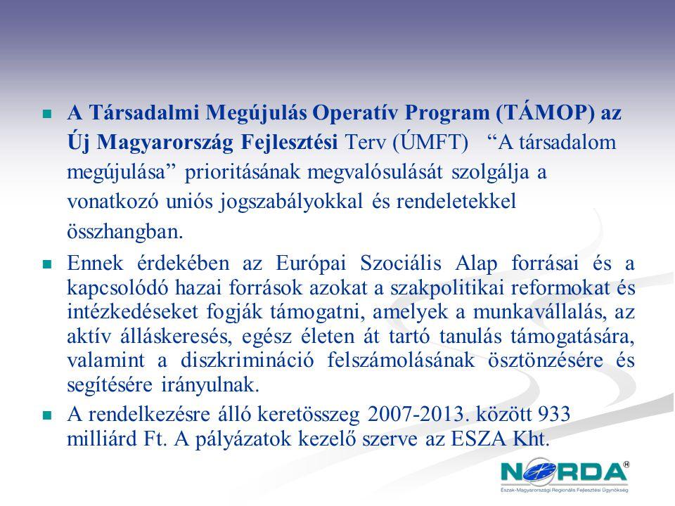 A Társadalmi Megújulás Operatív Program (TÁMOP) az Új Magyarország Fejlesztési Terv (ÚMFT) A társadalom megújulása prioritásának megvalósulását szolgálja a vonatkozó uniós jogszabályokkal és rendeletekkel összhangban.