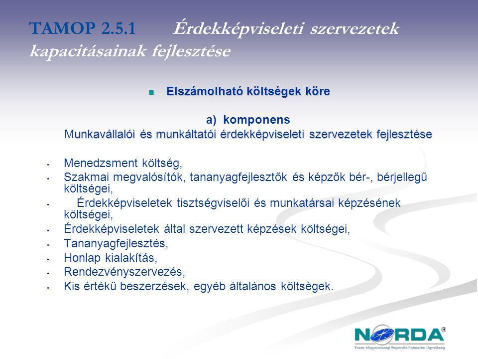 TAMOP 2.5.1Érdekképviseleti szervezetek kapacitásainak fejlesztése Elszámolható költségek köre Elszámolható költségek köre a) komponens unkavállalói és munkáltatói érdekképviseleti szervezetek fejlesztése Munkavállalói és munkáltatói érdekképviseleti szervezetek fejlesztése Menedzsment költség, Szakmai megvalósítók, tananyagfejlesztők és képzők bér-, bérjellegű költségei, Érdekképviseletek tisztségviselői és munkatársai képzésének költségei, Érdekképviseletek által szervezett képzések költségei, Tananyagfejlesztés, Honlap kialakítás, Rendezvényszervezés, Kis értékű beszerzések, egyéb általános költségek.