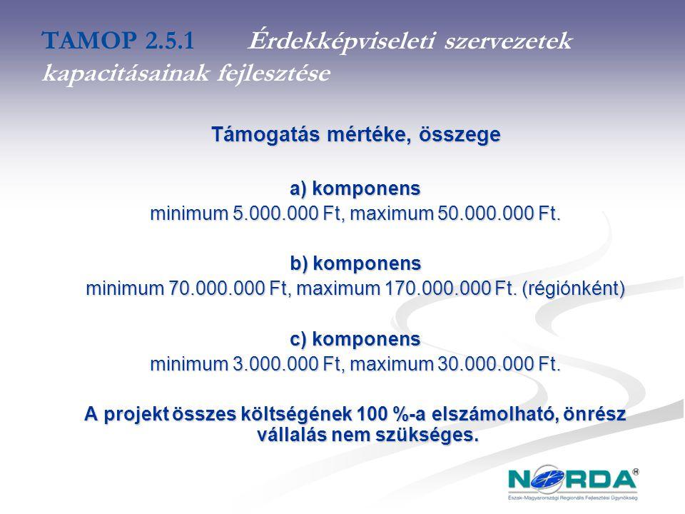 TAMOP 2.5.1Érdekképviseleti szervezetek kapacitásainak fejlesztése Támogatás mértéke, összege a) komponens minimum 5.000.000 Ft, maximum 50.000.000 Ft.