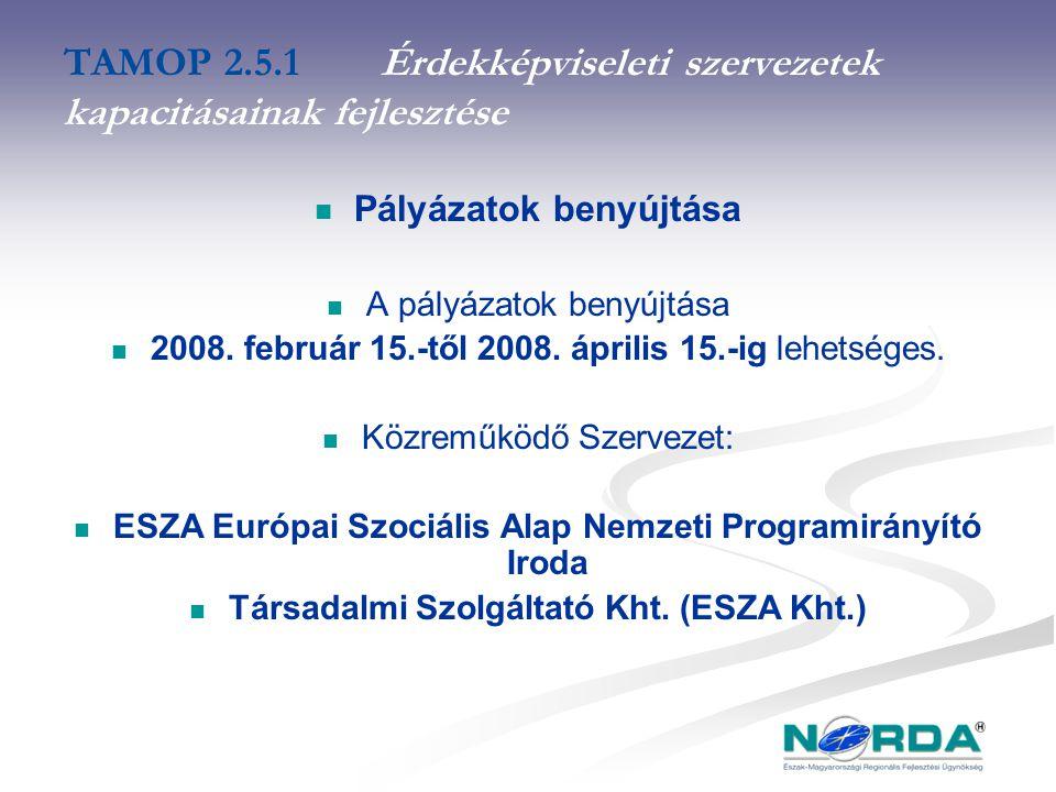 TAMOP 2.5.1Érdekképviseleti szervezetek kapacitásainak fejlesztése Pályázatok benyújtása A pályázatok benyújtása 2008.
