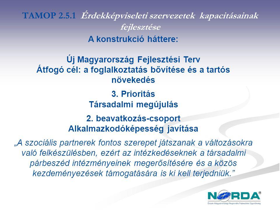 TAMOP 2.5.1 Érdekképviseleti szervezetek kapacitásainak fejlesztése A konstrukció háttere: Új Magyarország Fejlesztési Terv Átfogó cél: a foglalkoztatás bővítése és a tartós növekedés 3.