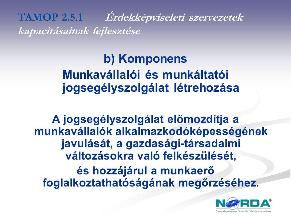 TAMOP 2.5.1Érdekképviseleti szervezetek kapacitásainak fejlesztése b) Komponens Munkavállalói és munkáltatói jogsegélyszolgálat létrehozása A jogsegélyszolgálat előmozdítja a munkavállalók alkalmazkodóképességének javulását, a gazdasági-társadalmi változásokra való felkészülését, és hozzájárul a munkaerő foglalkoztathatóságának megőrzéséhez.