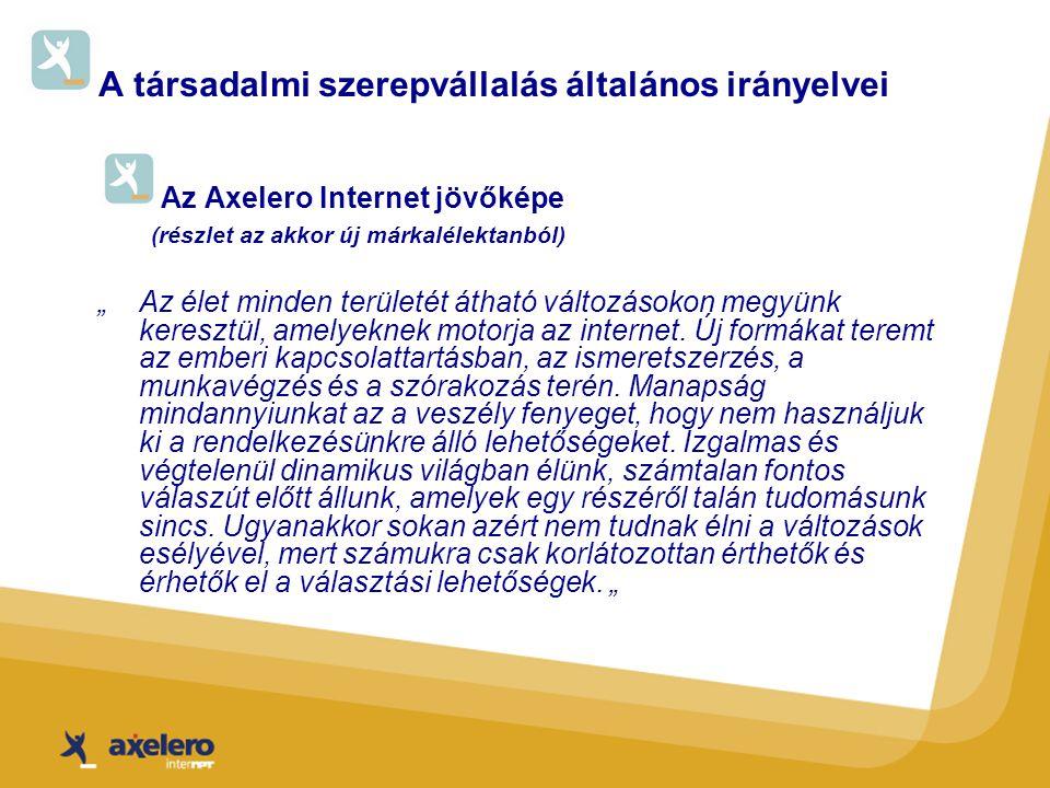 """A társadalmi szerepvállalás általános irányelvei Az Axelero Internet jövőképe (részlet az akkor új márkalélektanból) """"Az élet minden területét átható változásokon megyünk keresztül, amelyeknek motorja az internet."""