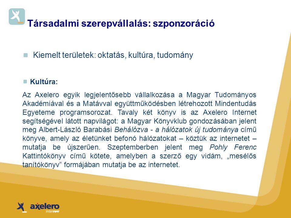 Társadalmi szerepvállalás: szponzoráció Kiemelt területek: oktatás, kultúra, tudomány Kultúra: Az Axelero egyik legjelentősebb vállalkozása a Magyar Tudományos Akadémiával és a Matávval együttműködésben létrehozott Mindentudás Egyeteme programsorozat.