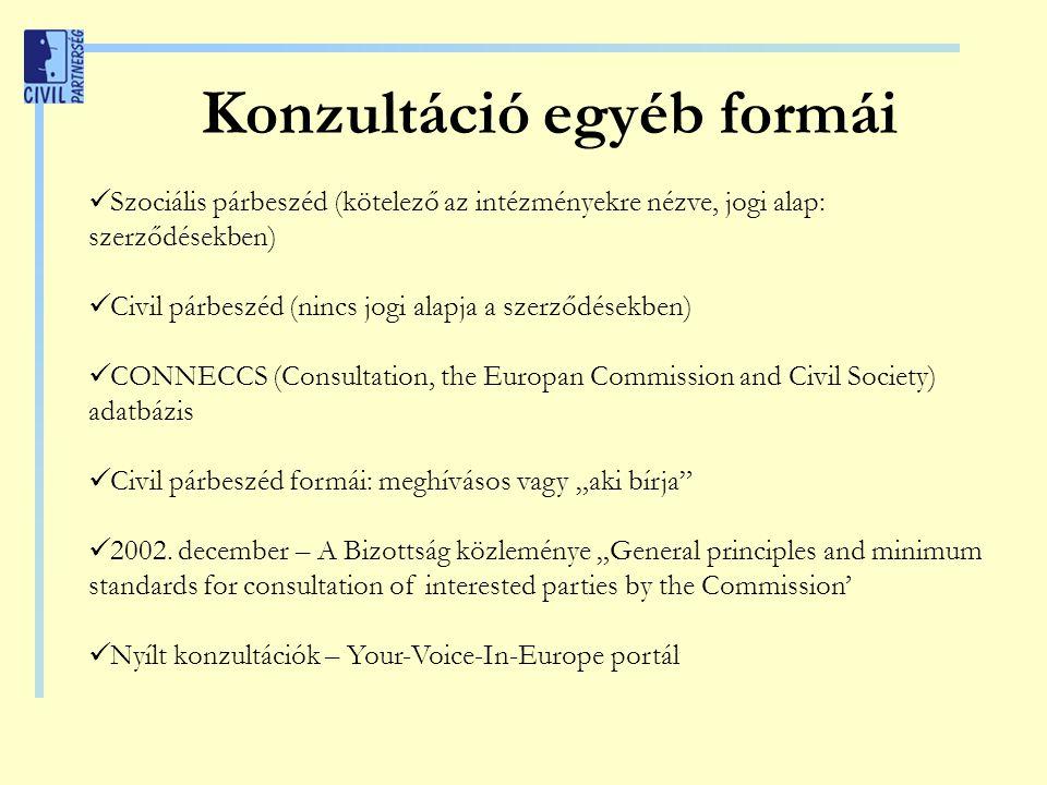 """Konzultáció egyéb formái Szociális párbeszéd (kötelező az intézményekre nézve, jogi alap: szerződésekben) Civil párbeszéd (nincs jogi alapja a szerződésekben) CONNECCS (Consultation, the Europan Commission and Civil Society) adatbázis Civil párbeszéd formái: meghívásos vagy """"aki bírja 2002."""