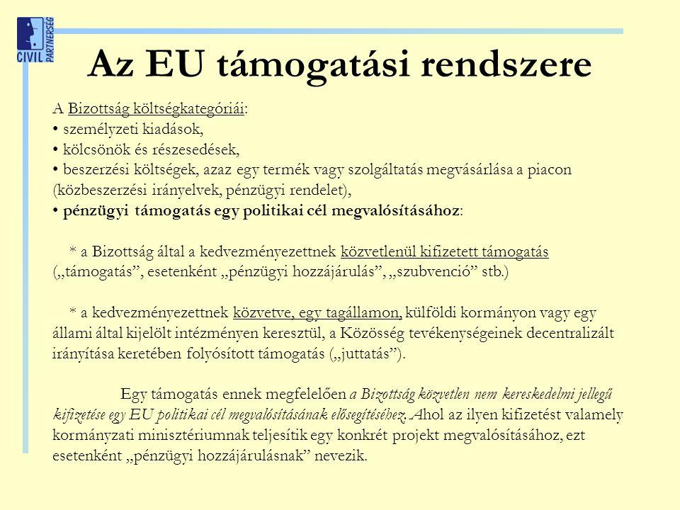 """Az EU támogatási rendszere A Bizottság költségkategóriái: személyzeti kiadások, kölcsönök és részesedések, beszerzési költségek, azaz egy termék vagy szolgáltatás megvásárlása a piacon (közbeszerzési irányelvek, pénzügyi rendelet), pénzügyi támogatás egy politikai cél megvalósításához: * a Bizottság által a kedvezményezettnek közvetlenül kifizetett támogatás (""""támogatás , esetenként """"pénzügyi hozzájárulás , """"szubvenció stb.) * a kedvezményezettnek közvetve, egy tagállamon, külföldi kormányon vagy egy állami által kijelölt intézményen keresztül, a Közösség tevékenységeinek decentralizált irányítása keretében folyósított támogatás (""""juttatás )."""
