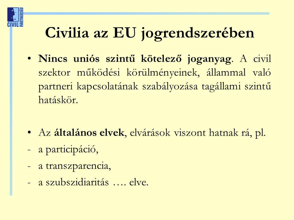Civilia az EU jogrendszerében Nincs uniós szintű kötelező joganyag. A civil szektor működési körülményeinek, állammal való partneri kapcsolatának szab