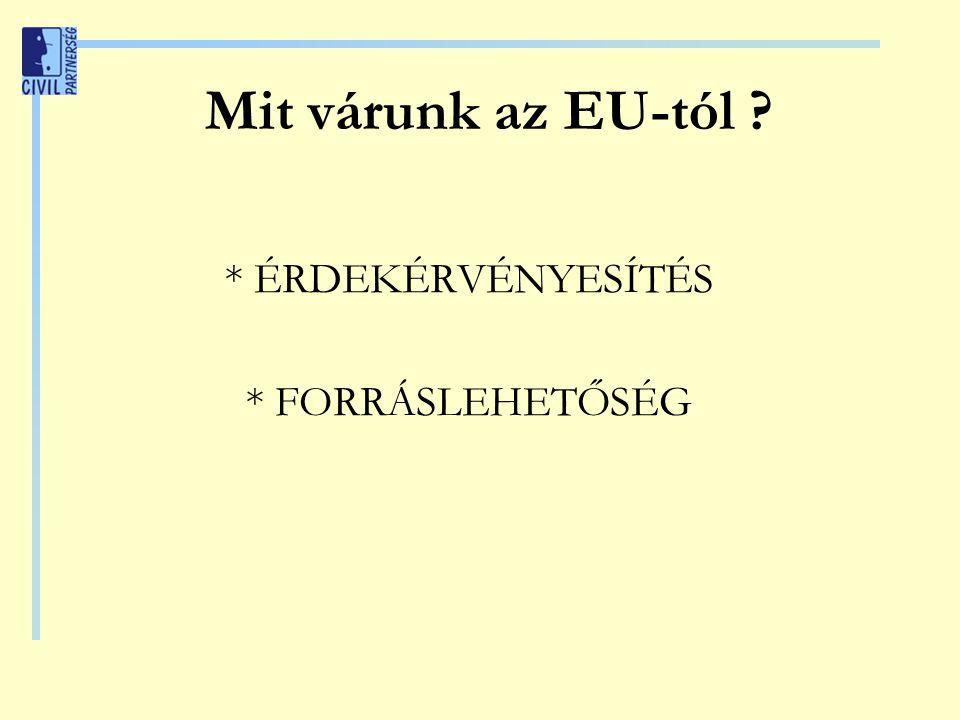 Mit várunk az EU-tól * ÉRDEKÉRVÉNYESÍTÉS * FORRÁSLEHETŐSÉG
