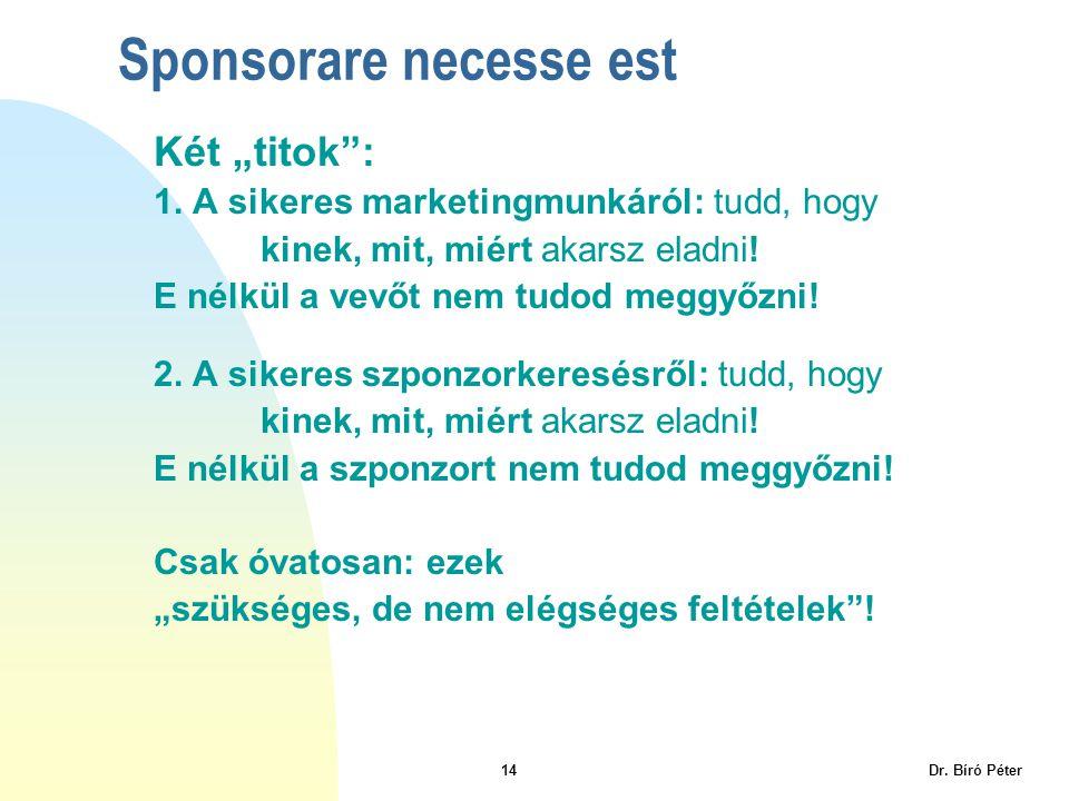 """14 Dr. Bíró Péter Két """"titok"""": 1. A sikeres marketingmunkáról: tudd, hogy kinek, mit, miért akarsz eladni! E nélkül a vevőt nem tudod meggyőzni! 2. A"""