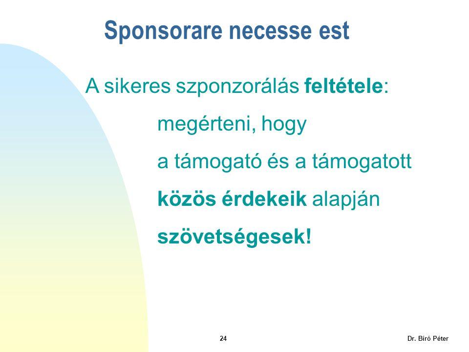 24 Dr. Bíró Péter Sponsorare necesse est A sikeres szponzorálás feltétele: megérteni, hogy a támogató és a támogatott közös érdekeik alapján szövetség