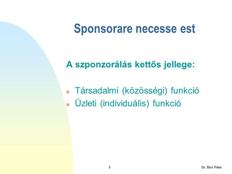 5 Dr. Bíró Péter Sponsorare necesse est A szponzorálás kettős jellege: n Társadalmi (közösségi) funkció n Üzleti (individuális) funkció