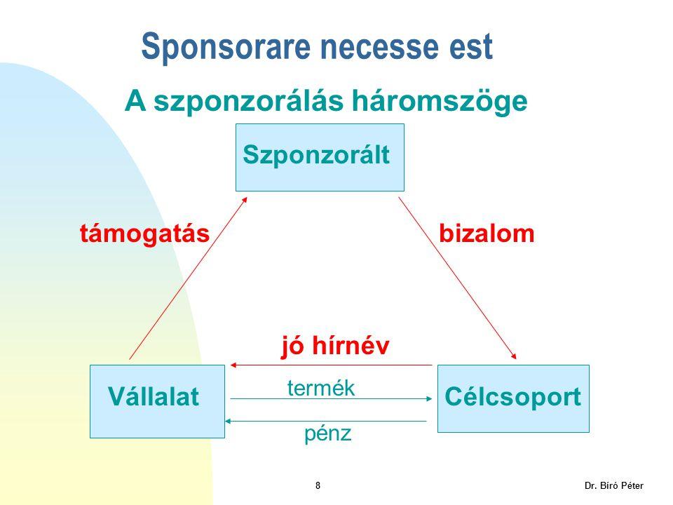 8 Dr. Bíró Péter Sponsorare necesse est Szponzorált VállalatCélcsoport A szponzorálás háromszöge jó hírnév termék támogatásbizalom pénz