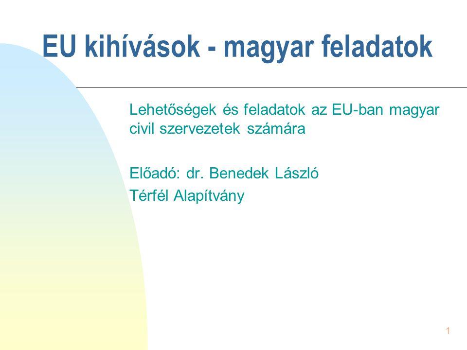 1 EU kihívások - magyar feladatok Lehetőségek és feladatok az EU-ban magyar civil szervezetek számára Előadó: dr. Benedek László Térfél Alapítvány