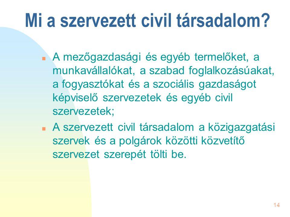 14 Mi a szervezett civil társadalom? n A mezőgazdasági és egyéb termelőket, a munkavállalókat, a szabad foglalkozásúakat, a fogyasztókat és a szociáli
