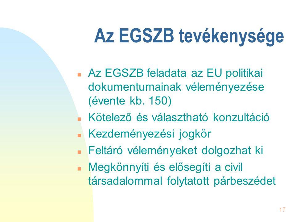 17 Az EGSZB tevékenysége n Az EGSZB feladata az EU politikai dokumentumainak véleményezése (évente kb. 150) n Kötelező és választható konzultáció n Ke