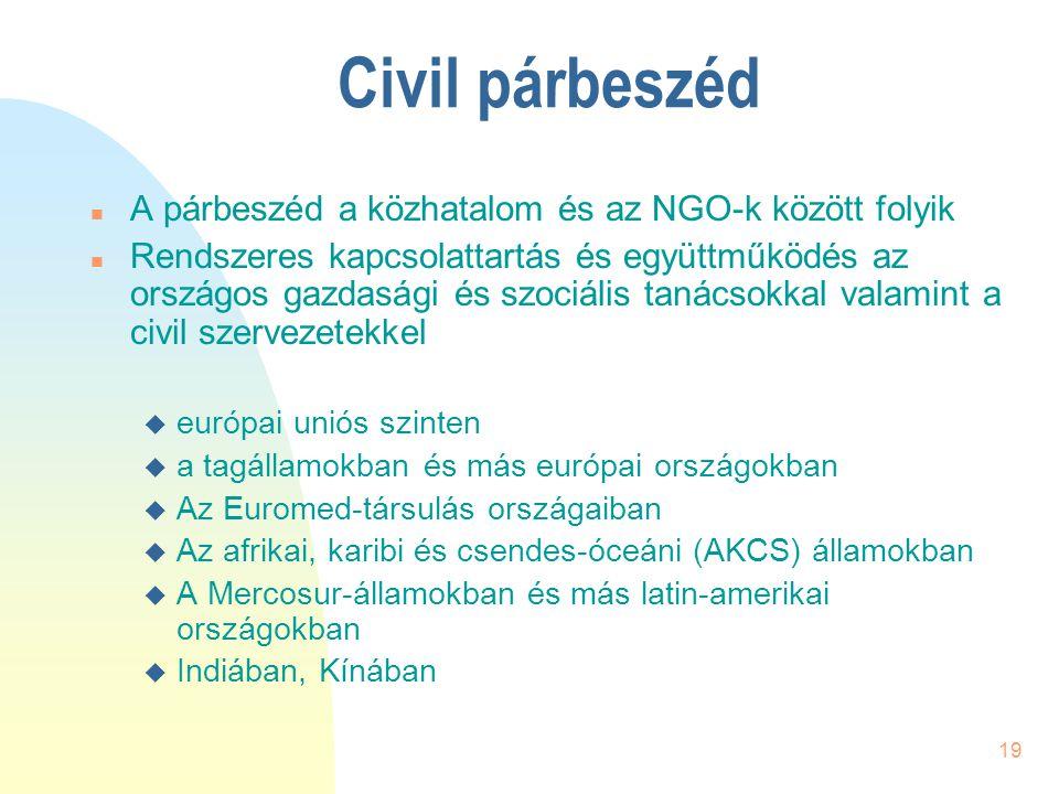 19 Civil párbeszéd n A párbeszéd a közhatalom és az NGO-k között folyik n Rendszeres kapcsolattartás és együttműködés az országos gazdasági és szociál
