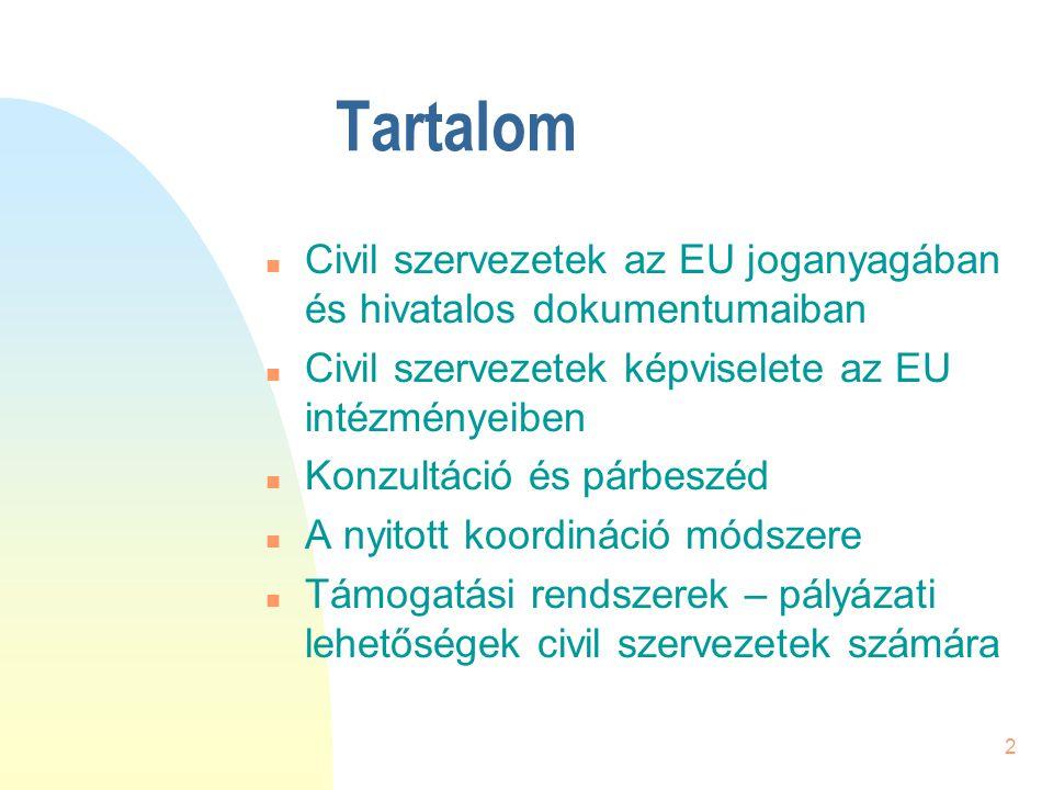 2 Tartalom n Civil szervezetek az EU joganyagában és hivatalos dokumentumaiban n Civil szervezetek képviselete az EU intézményeiben n Konzultáció és p