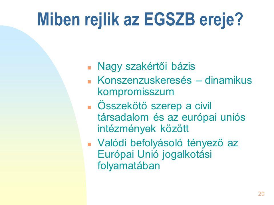 20 Miben rejlik az EGSZB ereje? n Nagy szakértői bázis n Konszenzuskeresés – dinamikus kompromisszum n Összekötő szerep a civil társadalom és az európ