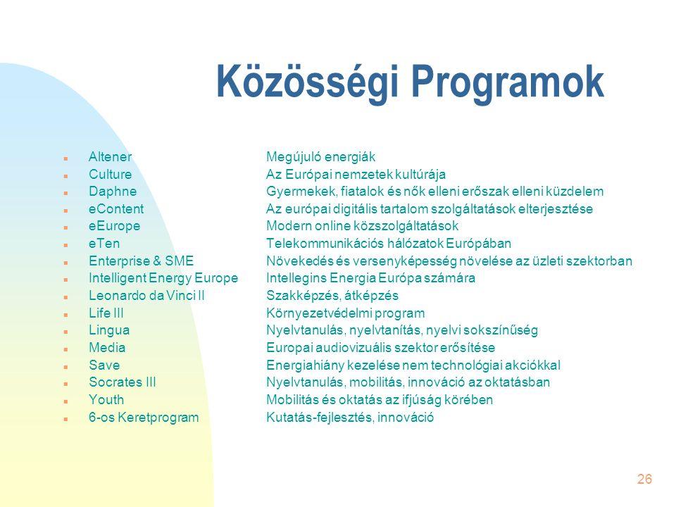 26 Közösségi Programok n AltenerMegújuló energiák n CultureAz Európai nemzetek kultúrája n DaphneGyermekek, fiatalok és nők elleni erőszak elleni küzd