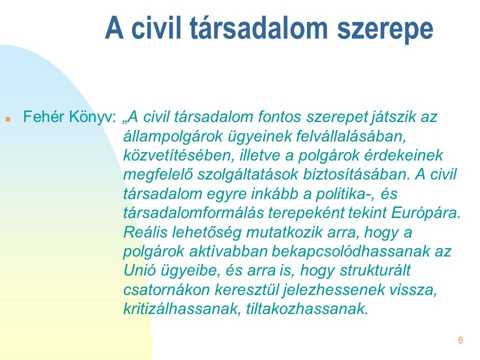 """6 A civil társadalom szerepe n Fehér Könyv: """"A civil társadalom fontos szerepet játszik az állampolgárok ügyeinek felvállalásában, közvetítésében, ill"""