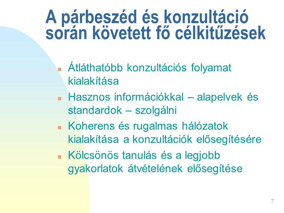 7 A párbeszéd és konzultáció során követett fő célkitűzések n Átláthatóbb konzultációs folyamat kialakítása n Hasznos információkkal – alapelvek és st
