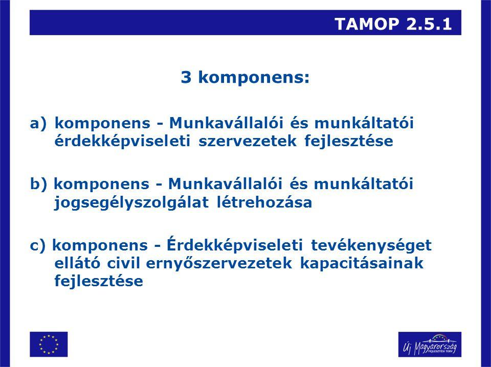 TAMOP 2.5.1 3 komponens: a)komponens - Munkavállalói és munkáltatói érdekképviseleti szervezetek fejlesztése b) komponens - Munkavállalói és munkáltatói jogsegélyszolgálat létrehozása c) komponens - Érdekképviseleti tevékenységet ellátó civil ernyőszervezetek kapacitásainak fejlesztése