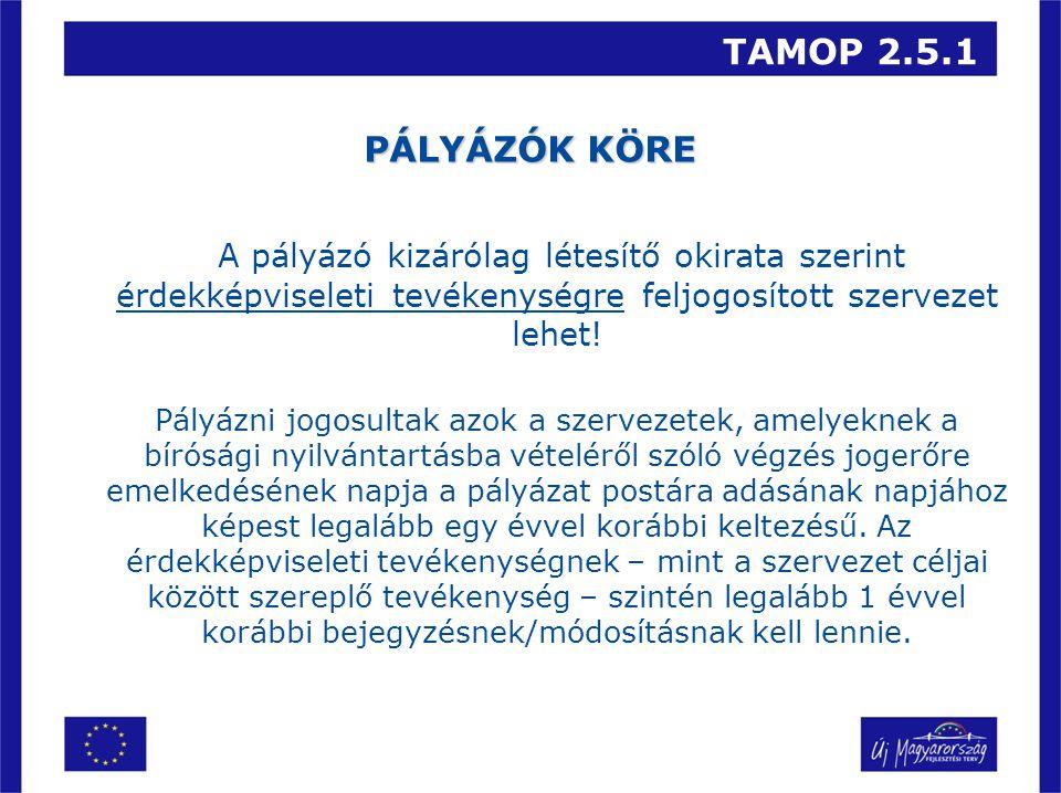 TAMOP 2.5.1 PÁLYÁZÓK KÖRE A pályázó kizárólag létesítő okirata szerint érdekképviseleti tevékenységre feljogosított szervezet lehet.