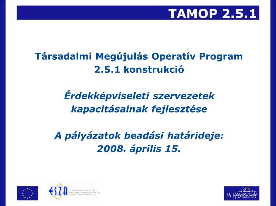 TAMOP 2.5.1 Társadalmi Megújulás Operatív Program 2.5.1 konstrukció Érdekképviseleti szervezetek kapacitásainak fejlesztése A pályázatok beadási határideje: 2008.