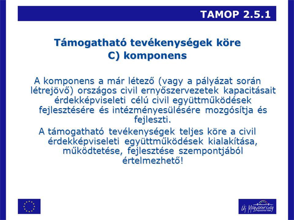 TAMOP 2.5.1 Támogatható tevékenységek köre C) komponens A komponens a már létező (vagy a pályázat során létrejövő) országos civil ernyőszervezetek kapacitásait érdekképviseleti célú civil együttműködések fejlesztésére és intézményesülésére mozgósítja és fejleszti.