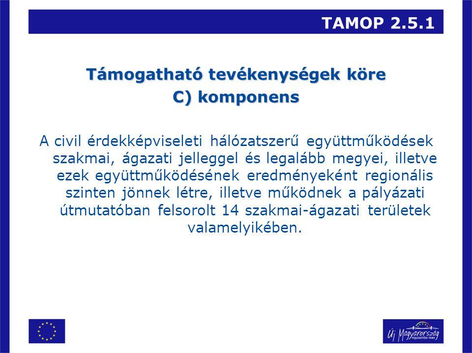 TAMOP 2.5.1 Támogatható tevékenységek köre C) komponens A civil érdekképviseleti hálózatszerű együttműködések szakmai, ágazati jelleggel és legalább megyei, illetve ezek együttműködésének eredményeként regionális szinten jönnek létre, illetve működnek a pályázati útmutatóban felsorolt 14 szakmai-ágazati területek valamelyikében.