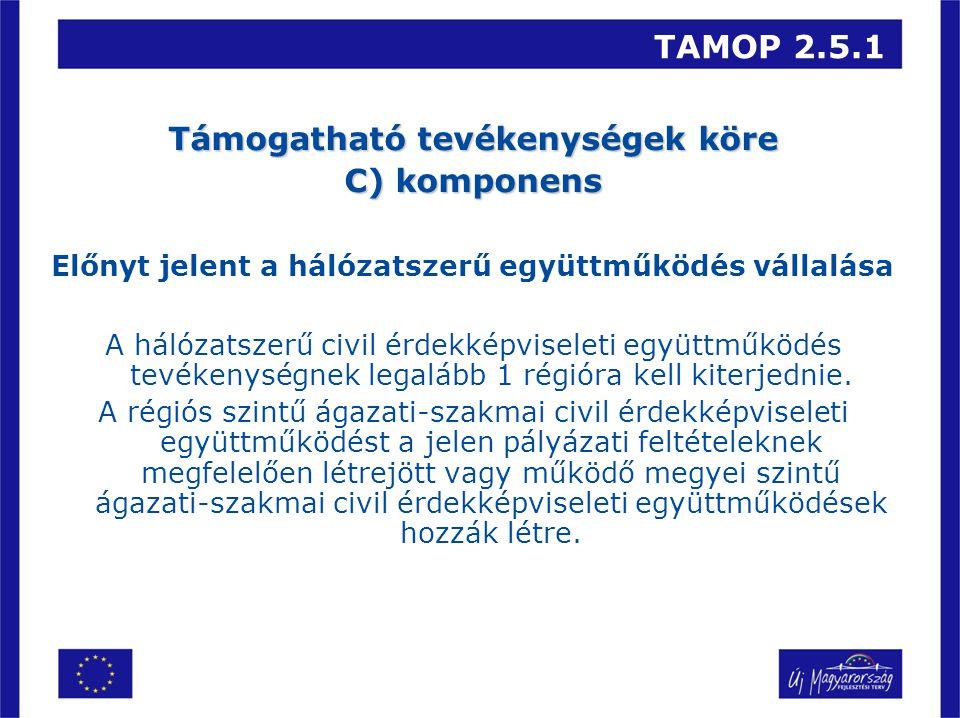 TAMOP 2.5.1 Támogatható tevékenységek köre C) komponens Előnyt jelent a hálózatszerű együttműködés vállalása A hálózatszerű civil érdekképviseleti együttműködés tevékenységnek legalább 1 régióra kell kiterjednie.