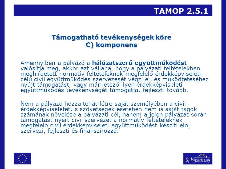 TAMOP 2.5.1 Támogatható tevékenységek köre C) komponens Amennyiben a pályázó a hálózatszerű együttműködést valósítja meg, akkor azt vállalja, hogy a pályázati feltételekben meghirdetett normatív feltételeknek megfelelő érdekképviseleti célú civil együttműködés szervezését végzi el, és működtetéséhez nyújt támogatást, vagy már létező ilyen érdekképviseleti együttműködés tevékenységét támogatja, fejleszti tovább.