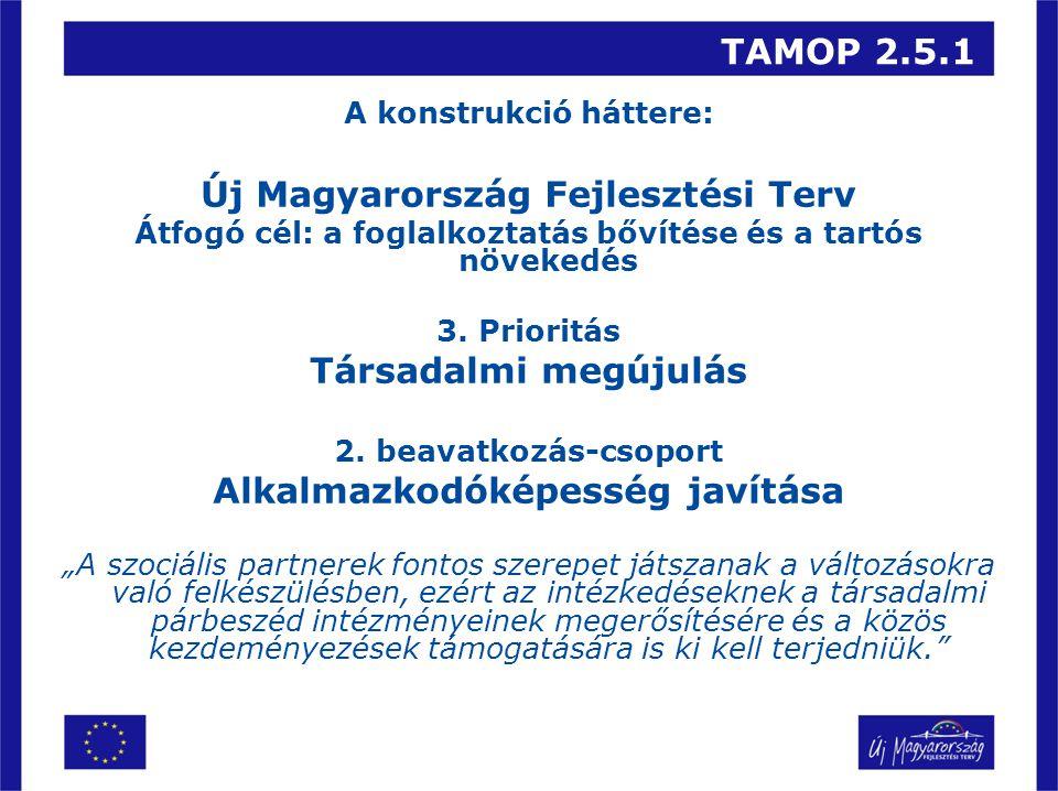 TAMOP 2.5.1 A konstrukció háttere: Új Magyarország Fejlesztési Terv Átfogó cél: a foglalkoztatás bővítése és a tartós növekedés 3.