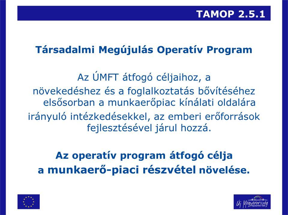TAMOP 2.5.1 Társadalmi Megújulás Operatív Program Az ÚMFT átfogó céljaihoz, a növekedéshez és a foglalkoztatás bővítéséhez elsősorban a munkaerőpiac kínálati oldalára irányuló intézkedésekkel, az emberi erőforrások fejlesztésével járul hozzá.