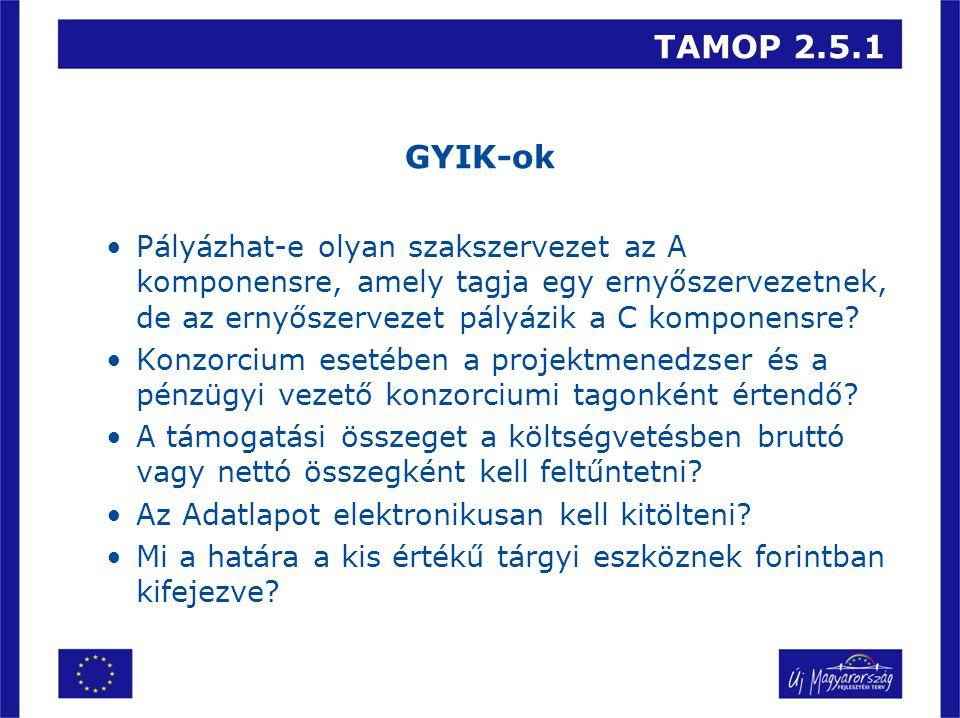 TAMOP 2.5.1 GYIK-ok Pályázhat-e olyan szakszervezet az A komponensre, amely tagja egy ernyőszervezetnek, de az ernyőszervezet pályázik a C komponensre.