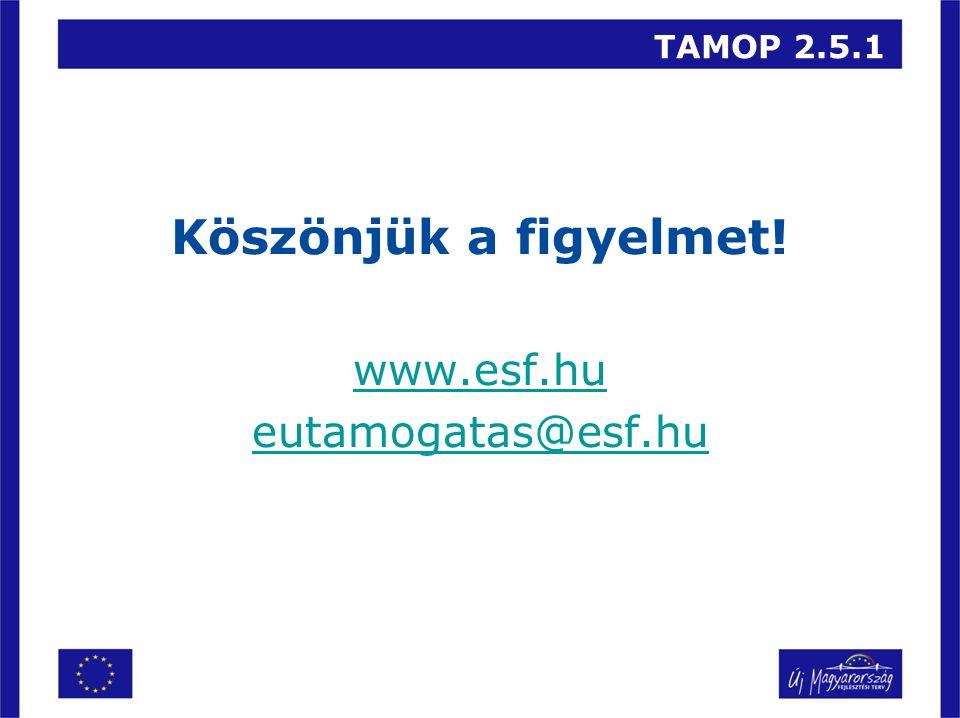 TAMOP 2.5.1 Köszönjük a figyelmet! www.esf.hu eutamogatas@esf.hu
