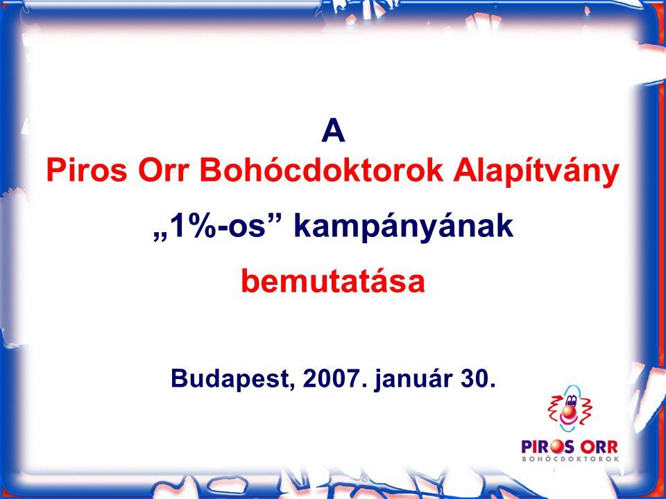 """A Piros Orr Bohócdoktorok Alapítvány """"1%-os kampányának bemutatása Budapest, 2007. január 30."""