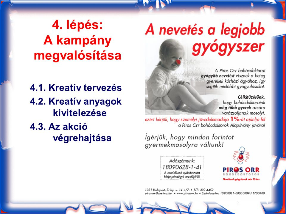 4. lépés: A kampány megvalósítása 4.1. Kreatív tervezés 4.2.