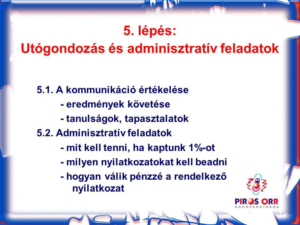 5. lépés: Utógondozás és adminisztratív feladatok 5.1.