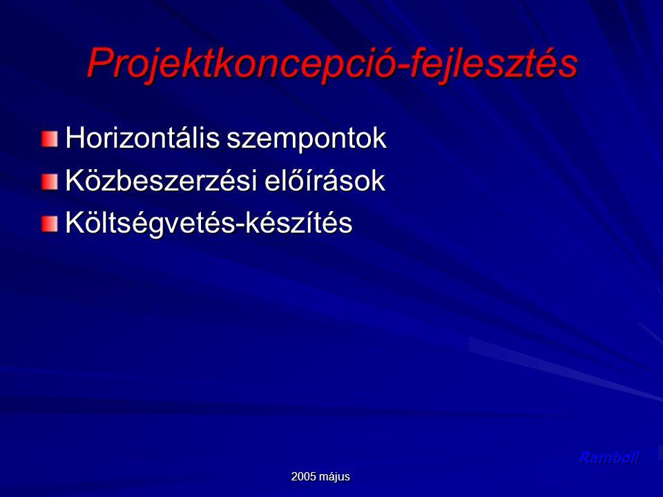 2005 május Ramboll Projektkoncepció-fejlesztés Horizontális szempontok Közbeszerzési előírások Költségvetés-készítés