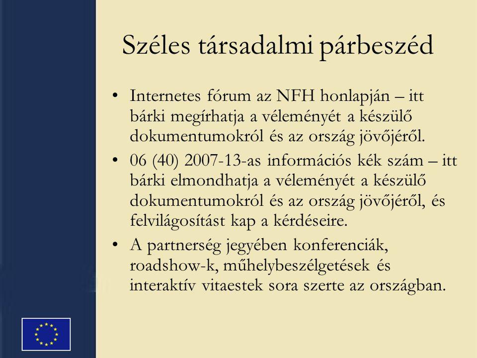 Széles társadalmi párbeszéd Internetes fórum az NFH honlapján – itt bárki megírhatja a véleményét a készülő dokumentumokról és az ország jövőjéről. 06
