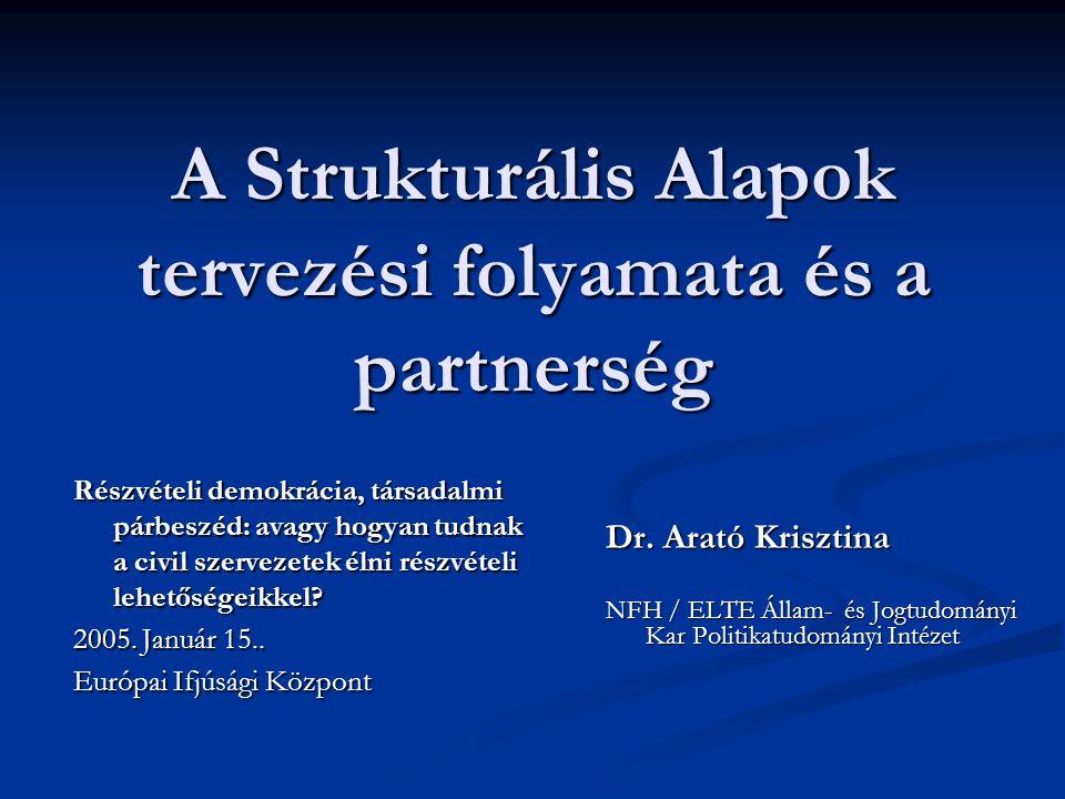 A Strukturális Alapok tervezési folyamata és a partnerség Az előadás három fő témája: Az előadás három fő témája: I.