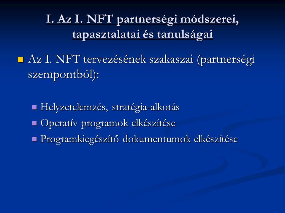 I. Az I. NFT partnerségi módszerei, tapasztalatai és tanulságai Az I.