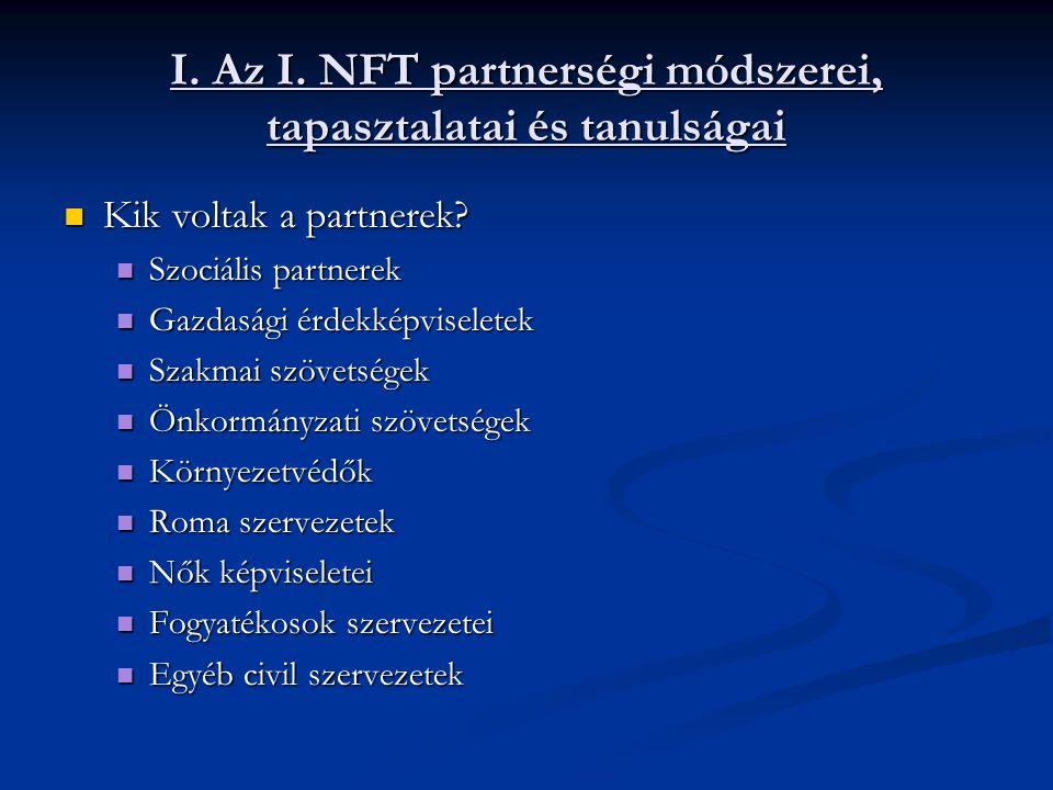 I. Az I. NFT partnerségi módszerei, tapasztalatai és tanulságai Kik voltak a partnerek.